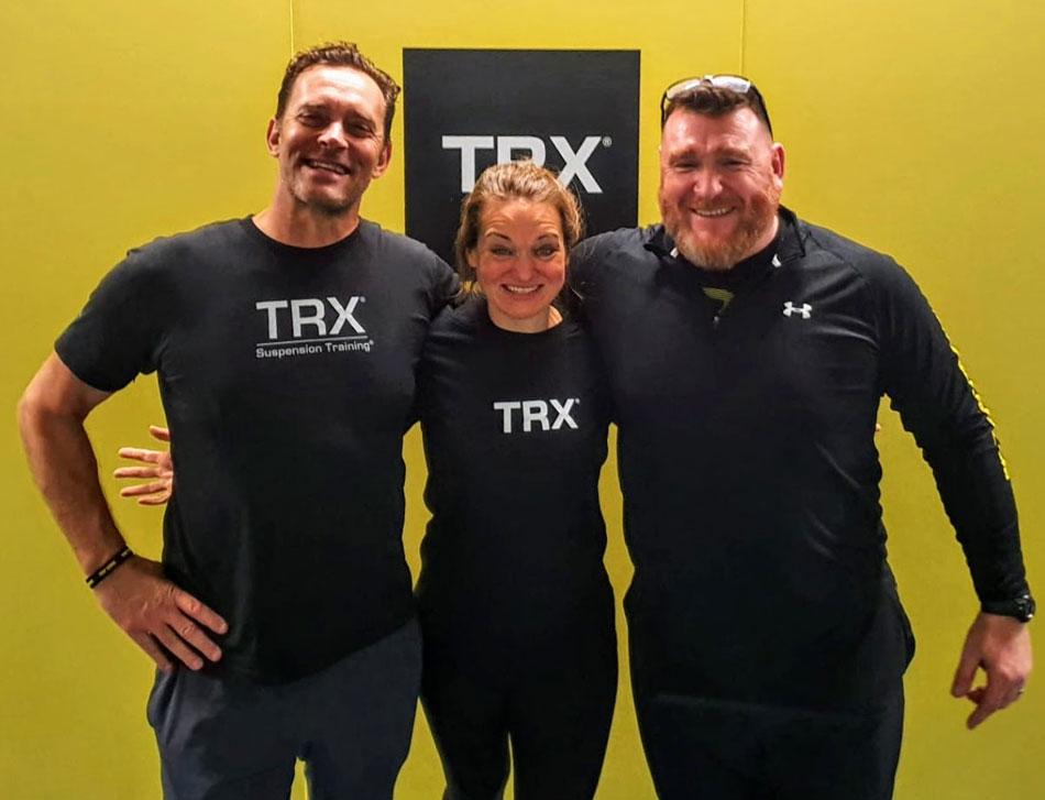 Samantha Crane with former U.S. Navy SEAL and TRX founder Randy Hetrick (left)